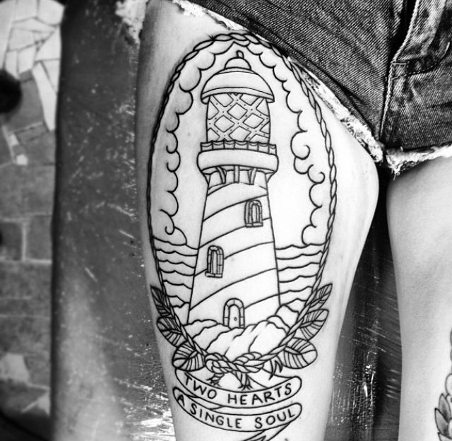 lighthouse outline thigh tattoo tattoo pinterest