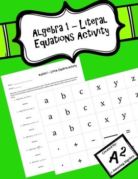 Algebra 1 Literal Equation Activity Amazing Algebra Tpt