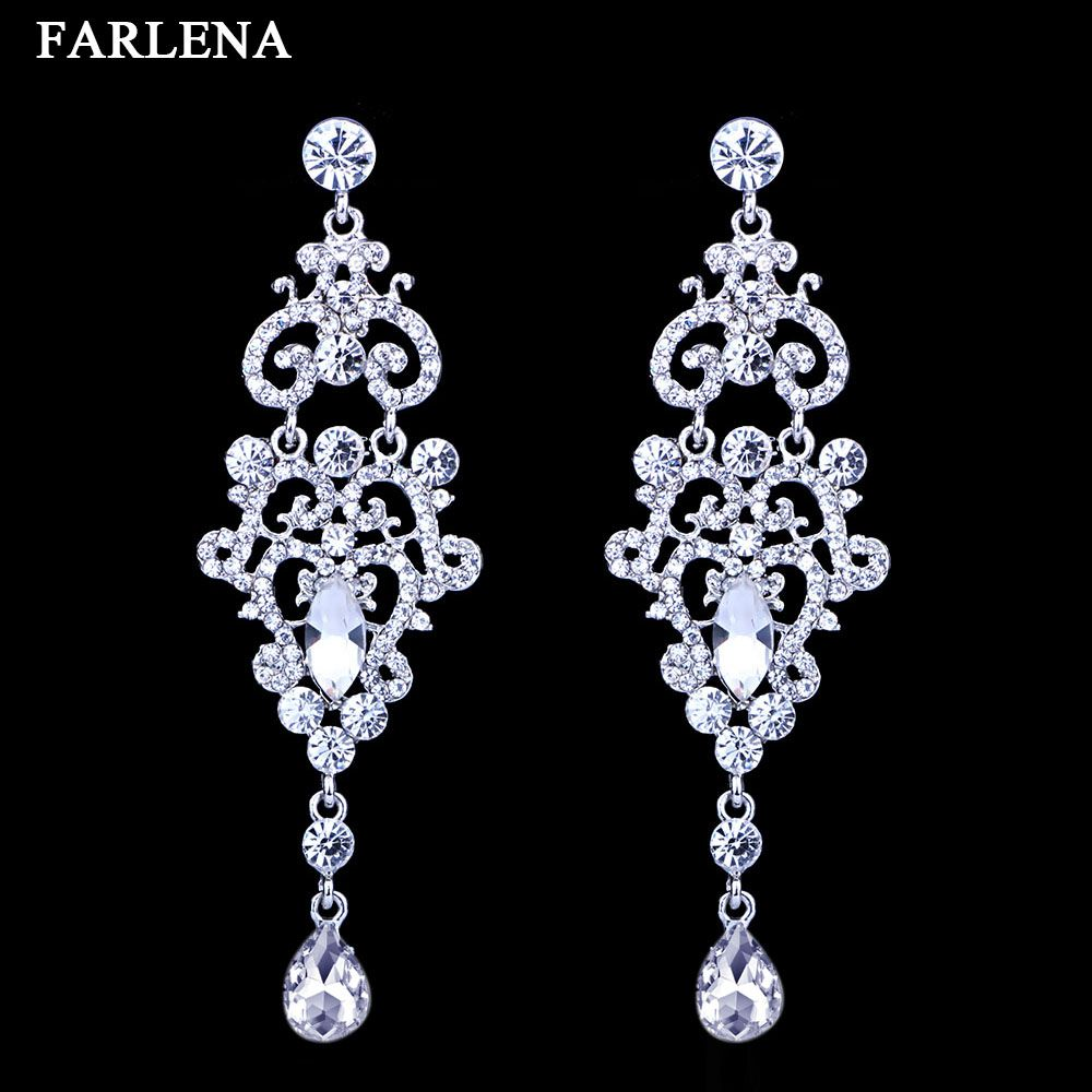 Fashion silver plated crystal rhinestones chandelier bridal long cheap earrings wedding buy quality long earrings silver directly from china dangle earrings suppliers mecresh crystal chandelier long earrings silver arubaitofo Gallery