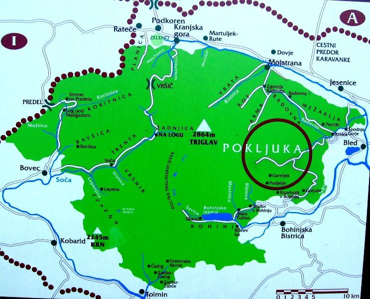 Map Of Triglav National Park It Occupies Julian Alps With