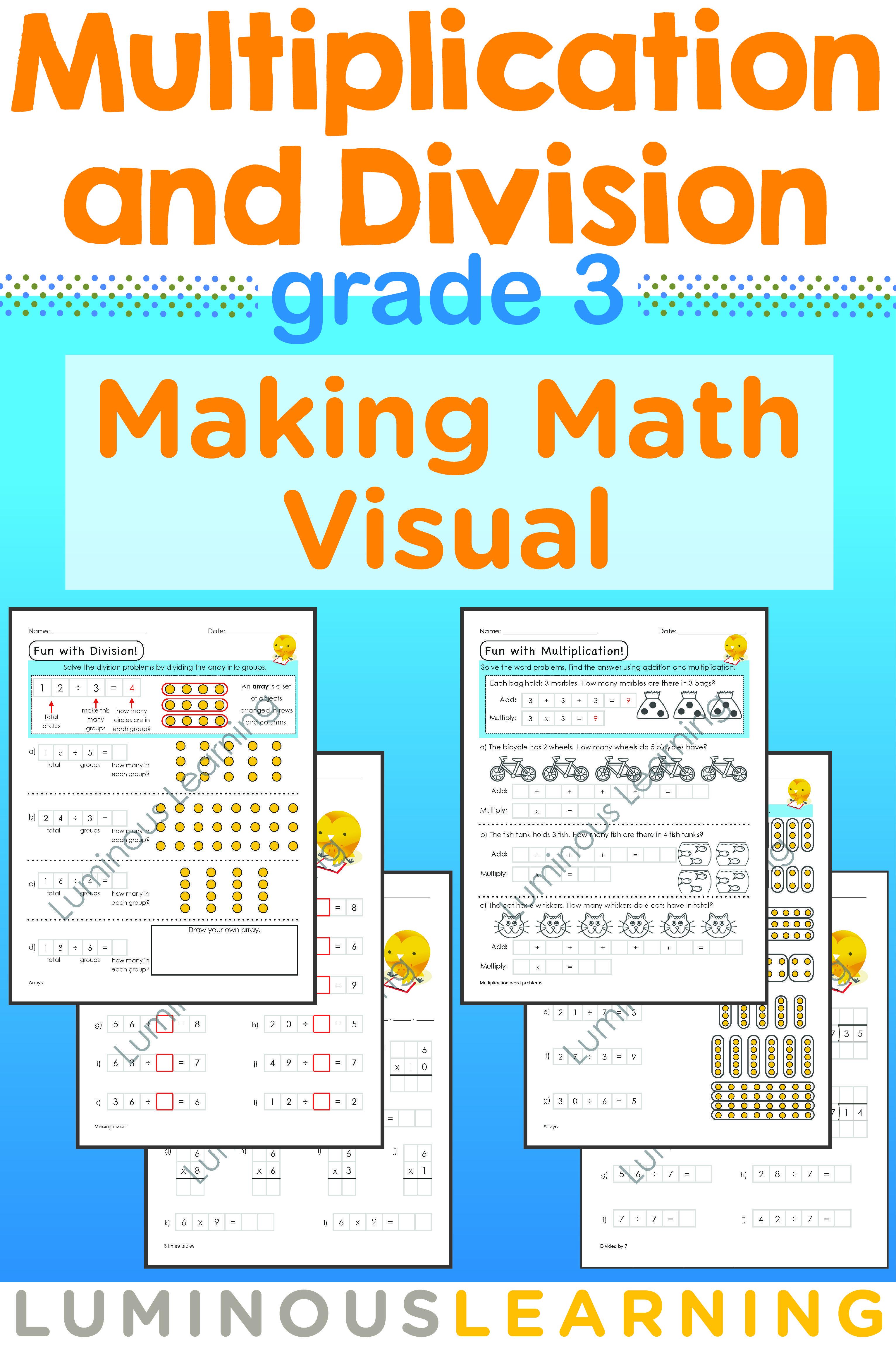 Grade 3 Multiplication and Division Workbook: Making Math Visual ...