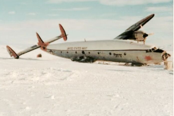 The wreckage of of a Constellation in the Arctic.