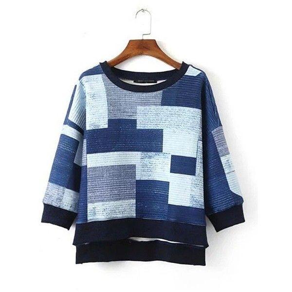 Yoins Color Block High Low Hem Sweatshirt (100 BRL) ❤ liked on Polyvore featuring tops, hoodies, sweatshirts, yoins, blue, shirts & tops, three quarter sleeve shirts, color block shirt, block shirt and 3/4 sleeve tops