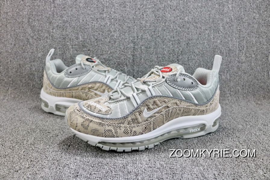 99ebe9e0d27 Supreme X Nike Air Max 98 SUP Snakeskin 844694-100 Mens Running Shoes Sail  White Reflective Silver For Sale