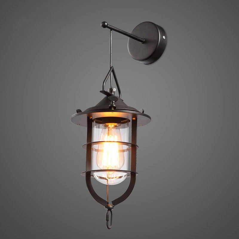 Industrial 1-Light Metal Cage Clear Glass Nautical Hanging ...
