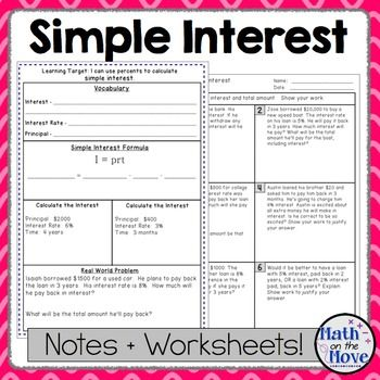 Percents - Simple Interest - Notes, Task Cards, and a Problem
