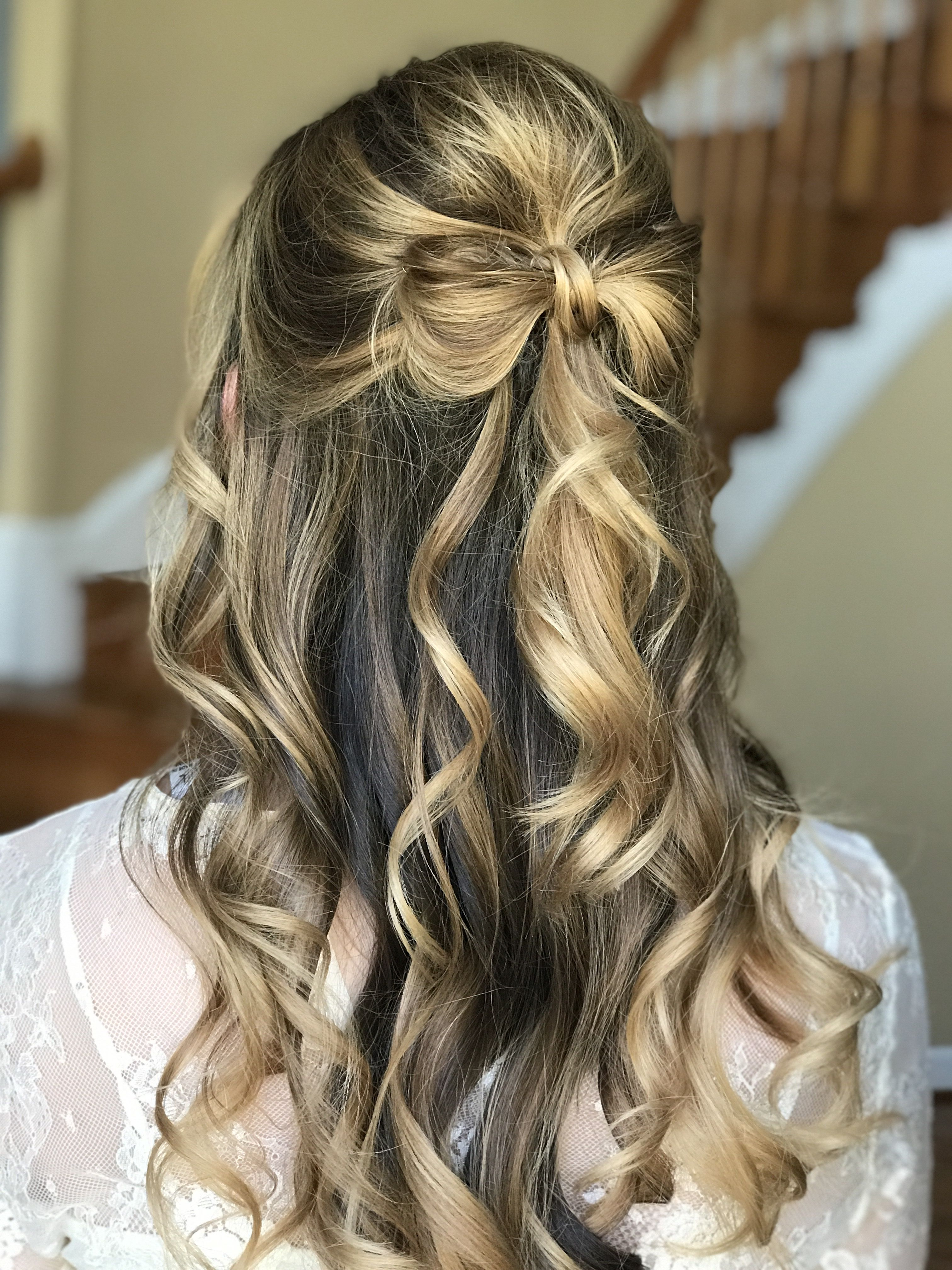 Hair Bow Half Up Half Down Feminine Romantic Fun Bridal Little