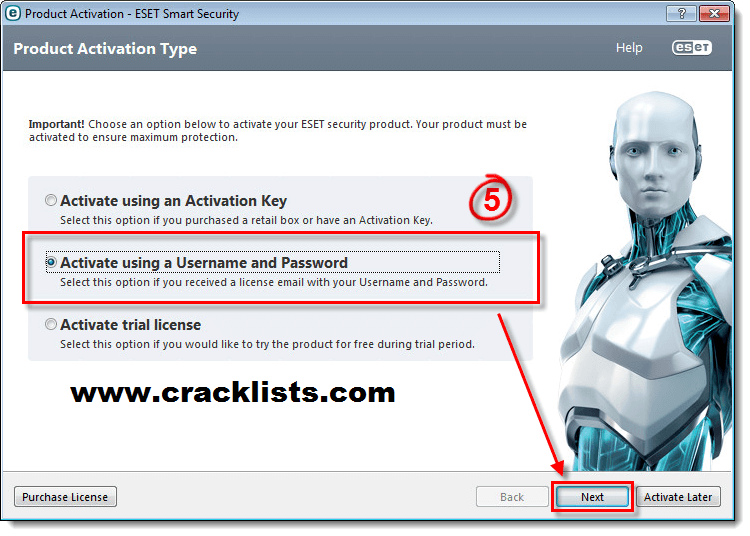 eset smart security 5 username and password