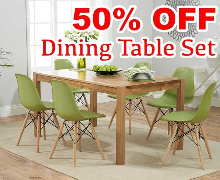 Discount Oxford 150cm Solid Oak Dining Table With Charles Eames
