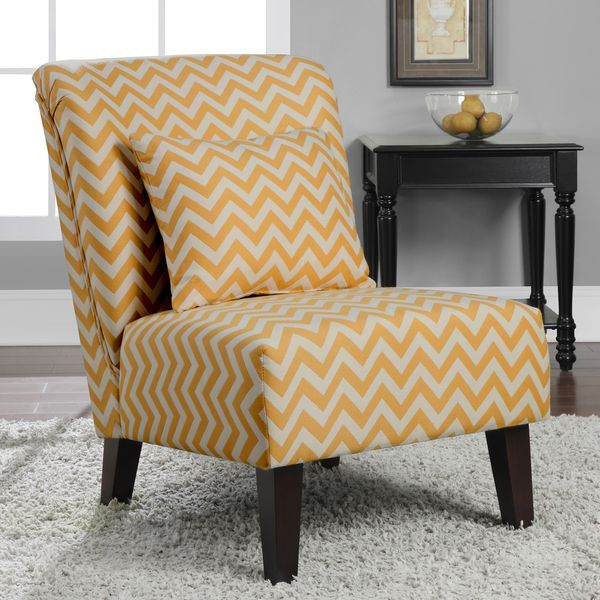 Marvelous Anna French Yellow Chevron Fabric Accent Chair