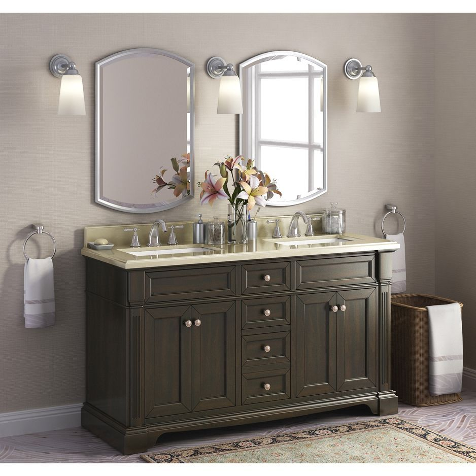 Bryon 60 Inch Marble Top Double Bathroom Vanity Dark Chocolate Finish Brown Size Vanities