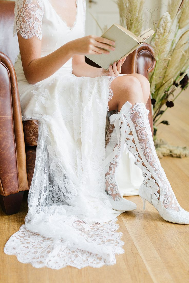 Knee length vintage wedding dresses  Vintage Lace Wedding Boots and Shoes in   Summer Wedding Ideas