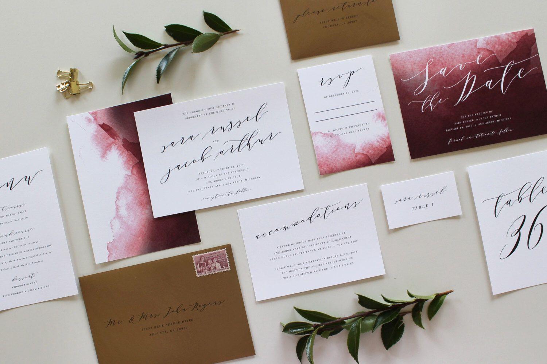 Calligraphy Wedding Invitation, Modern Wedding Invitation