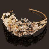 Western Hochzeit Haarschmuck Schmuck Handmade Gold Kristall Perle Reben Blume …..