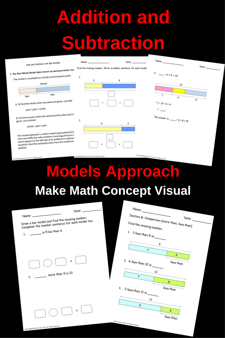 Make Learning Basic Math Concept Easy For Children With Visual Models Teach Addition And Subtraction With B Addition And Subtraction Basic Math Singapore Math [ 1102 x 735 Pixel ]