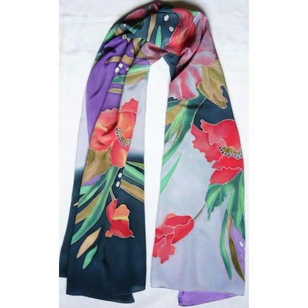 Batik stole, tippet 70x170 sm (27x67 inches)  100% silk via Polyvore featuring accessories, scarves, silk scarves, batik scarves, wrap shawl, silk stole и silk shawl