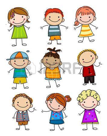 Dessin d enfant groupe d 39 enfants esquisse illustration tableaux et cartes kinder - Dessin groupe d enfants ...