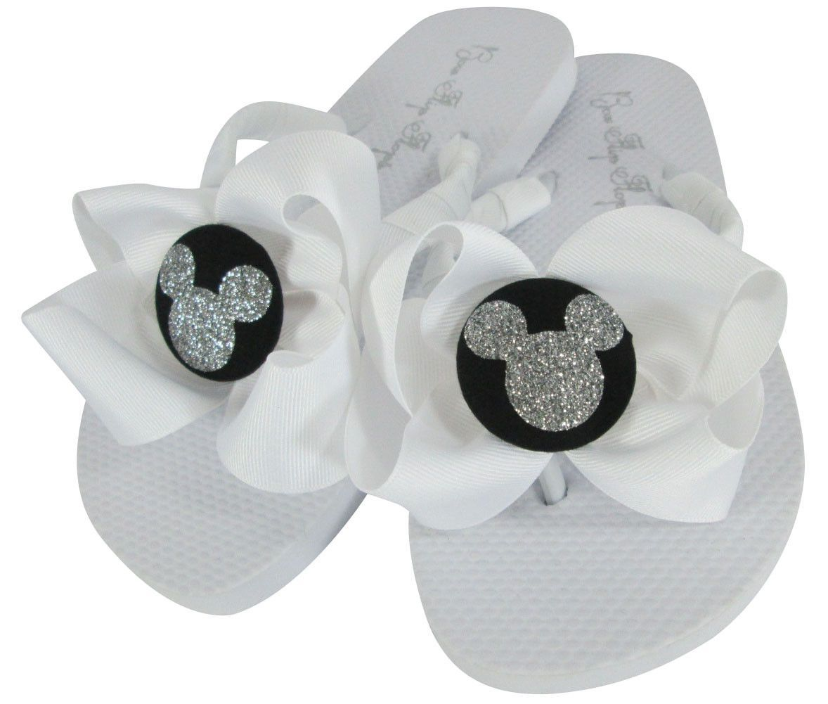 0c3d292f6b7507 Red   Silver Disney Bow Flip Flops with Glitter Bling Mickey ...