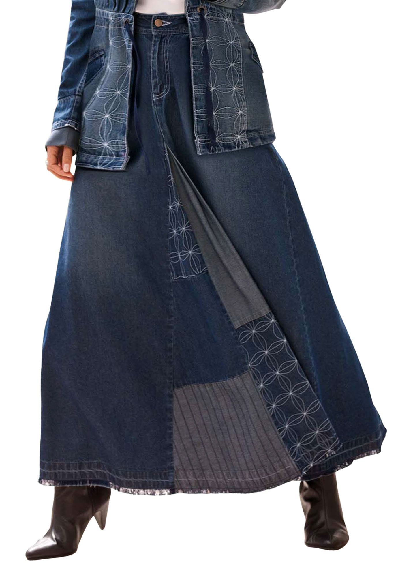 ef0dc3f756 Patchwork Denim Skirt | Plus Size Dresses and Skirts | Roamans | My ...