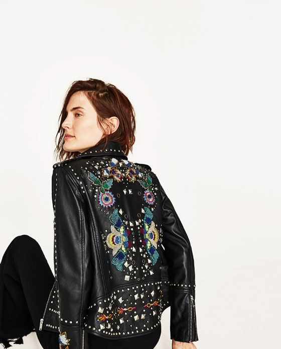 FAUX LEATHER EMBROIDERED JACKET WITH METALLIC DETAILS NEW IN