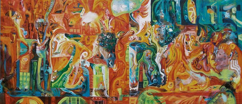 Mischtechniken - Grosses, farbenfrohes Gemälde XXL Wohnzimmer Bild - großes bild wohnzimmer