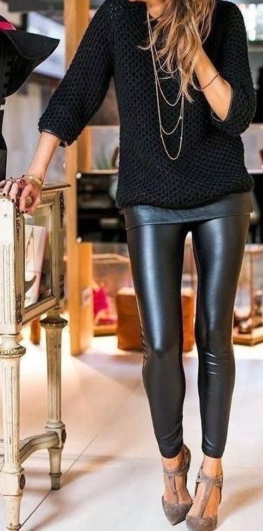 Faux Leather Matte Leggings #leatherpantsoutfit
