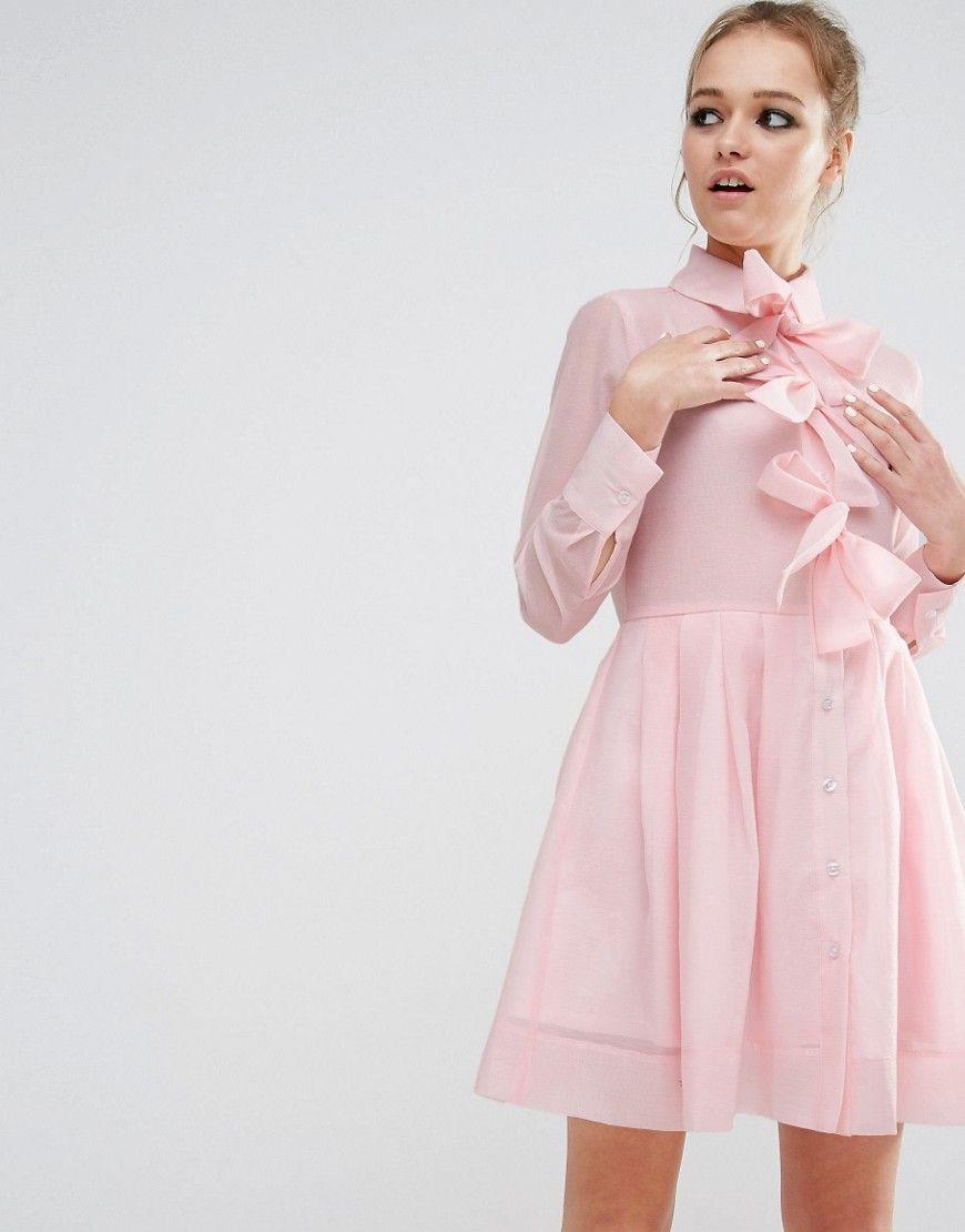 1960s Sister Jane Bow Front Baby Doll Shirt Dress Pink 65 00 At Vintagedancer Com Pink Dress Shirt Blush Cocktail Dress 1960s Style Dress