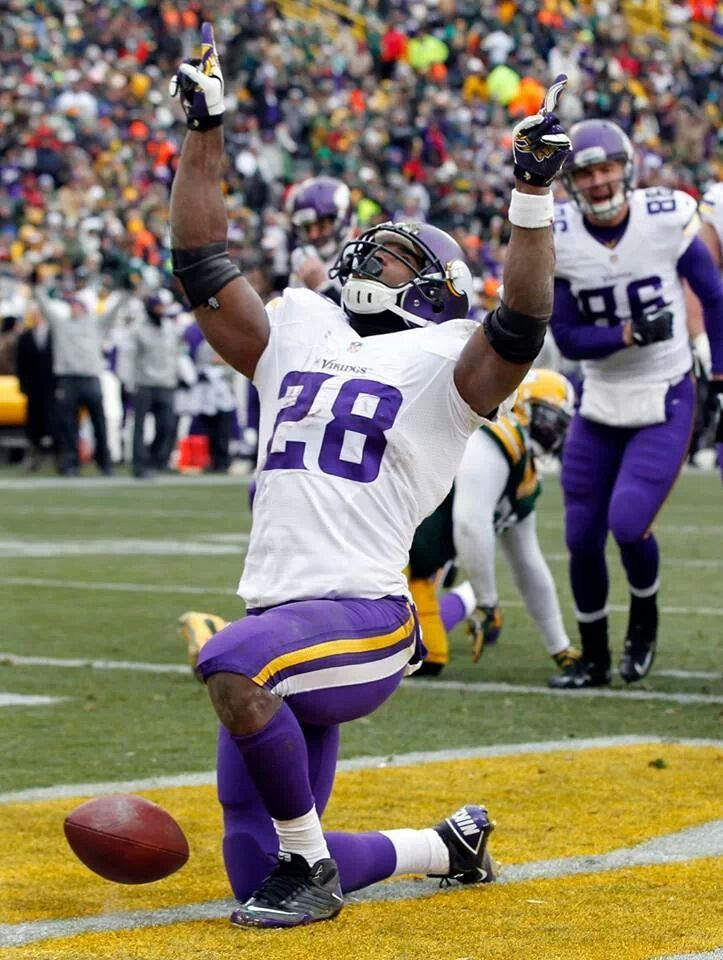 Minnesota againest Greenbay- Peterson untouched for 6 yards!  :) Td