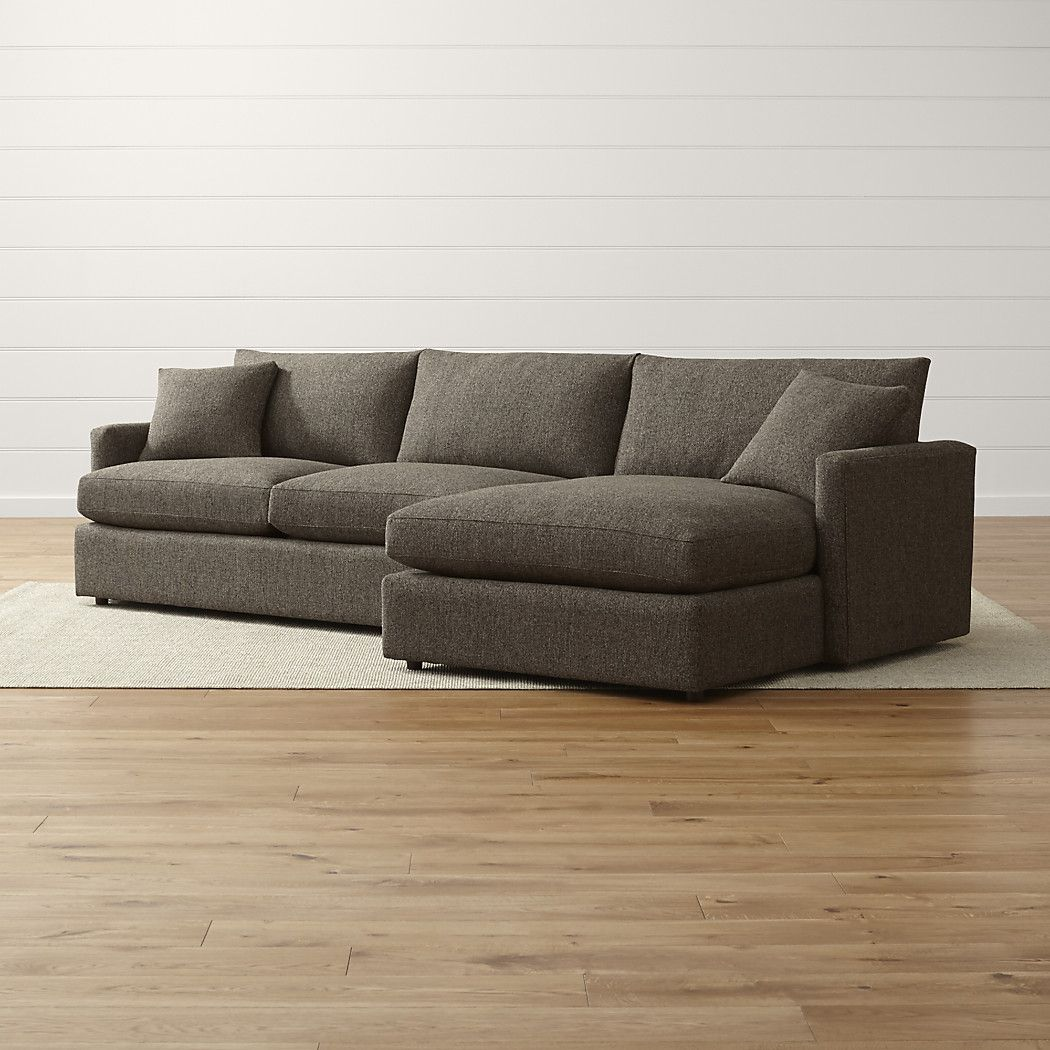 Lounge ii petite 2 piece sectional sofa taft truffle crate and barrel