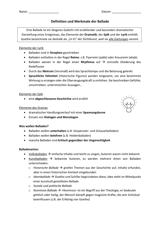Merkblatt für Balladen – Unterrichtsmaterial im Fach Deutsch ...