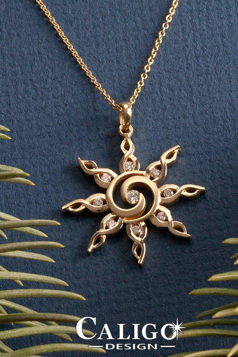 Sun Necklace Spiral Sun 14k Gold Sun Pendant With Diamonds Sun Jewelry Sky Jewelry Spiral Sun Jewelry Gold Sun Jewelry 14k Yellow Gold Jewelry Yellow Gold Chain Gold Sun