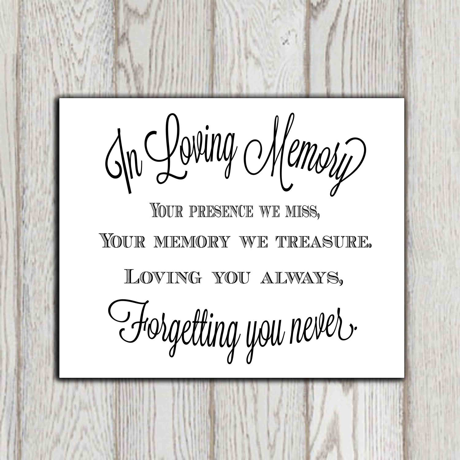 8 x 10 PRINT Loved Ones/ Remembrance / In Loving Memory - Wedding ...
