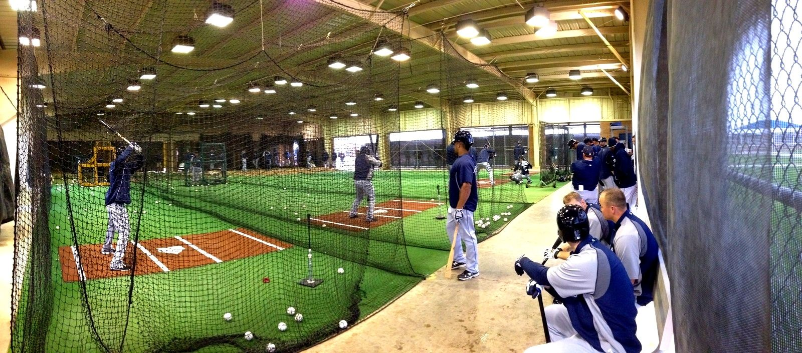 spring training mlb batting cage | panoramic view of Mariners ...