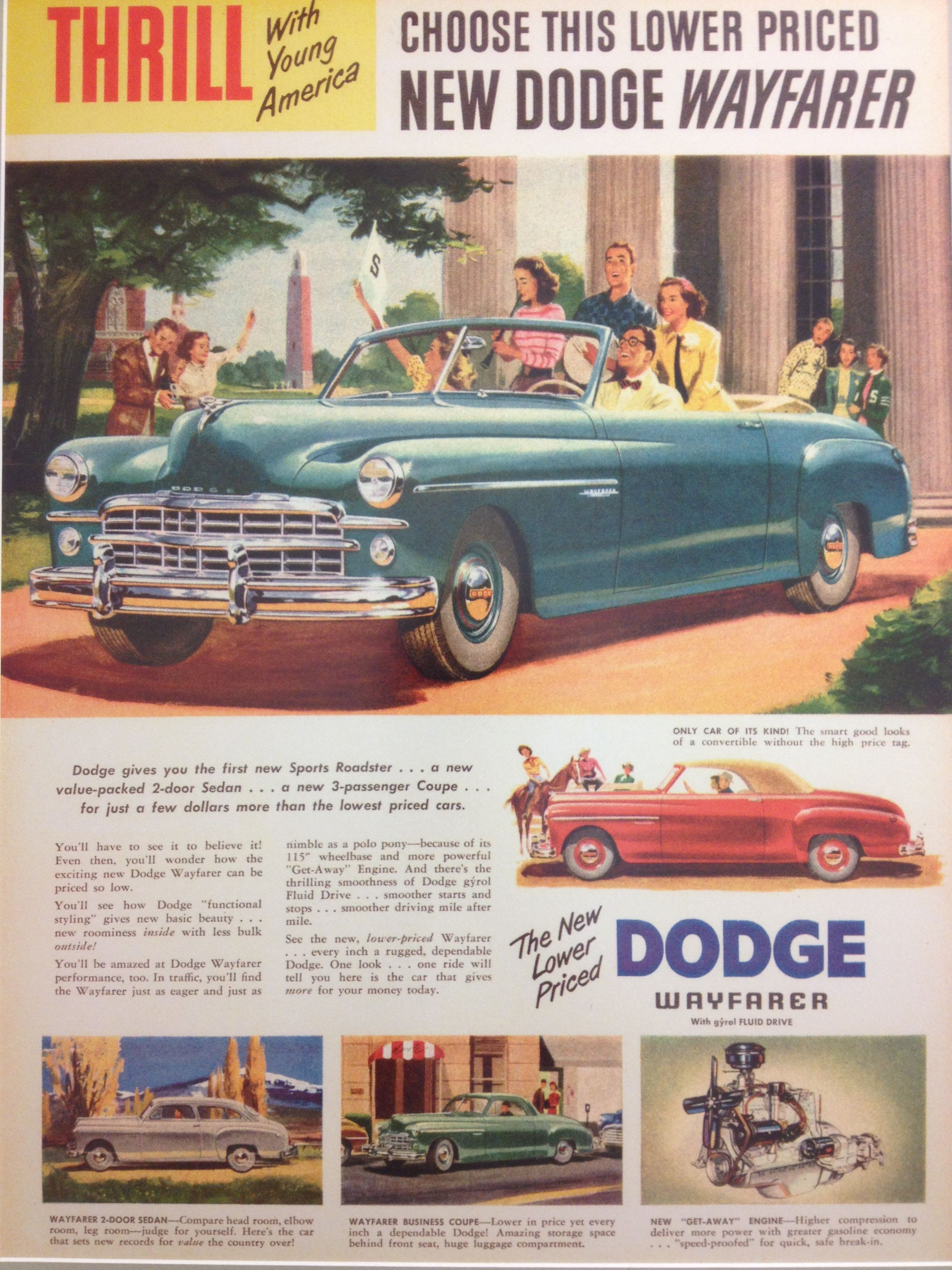 1949 Dodge Wayfarer - vintage ad at Kelley Blue Book headquarters ...