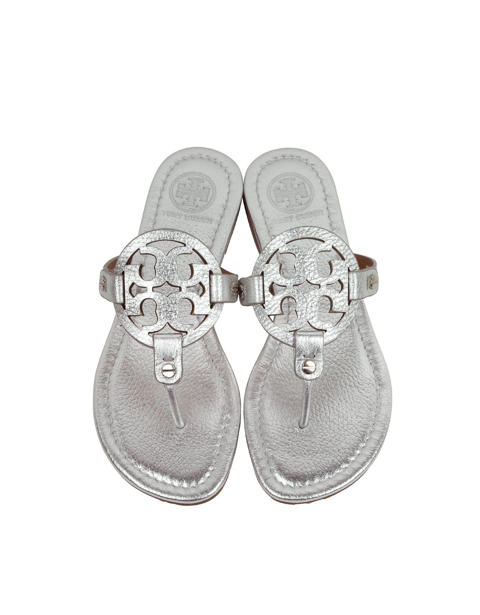 837b5b118 Tory Burch Miller Metallic Silver Leather Sandal