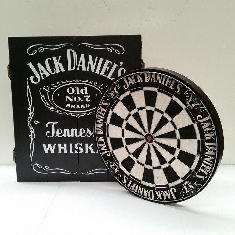 Official Licensed Jack Daniels Dart Board And Cabinet Set Jack Daniels Flechettes