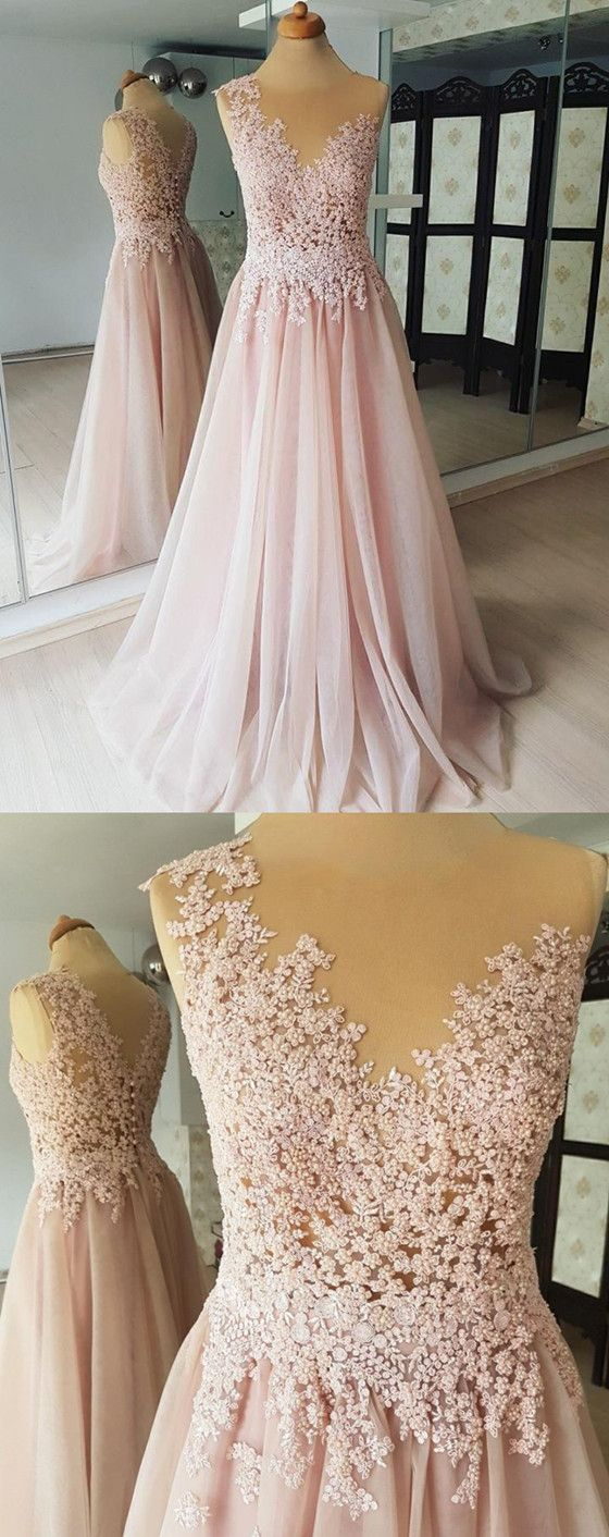 Aline round neck sleeveless lace appliques beading long tulle prom