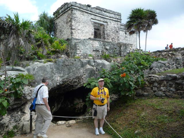 Can't remember if this is a cave or a tunnel...pretty area of the ruins.   Tulum, Mexico.   Go to www.YourTravelVideos.com or just click on photo for home videos and much more on sites like this.