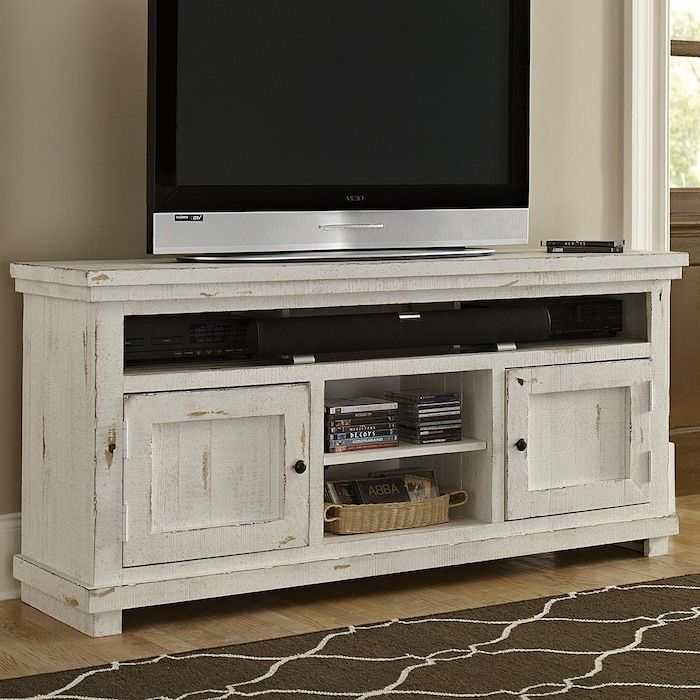 "Willow 64"" Entertainment Console In Distressed White"