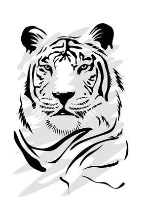 Tigre Blanco Shirts Siluetas Pintar Pirograbado
