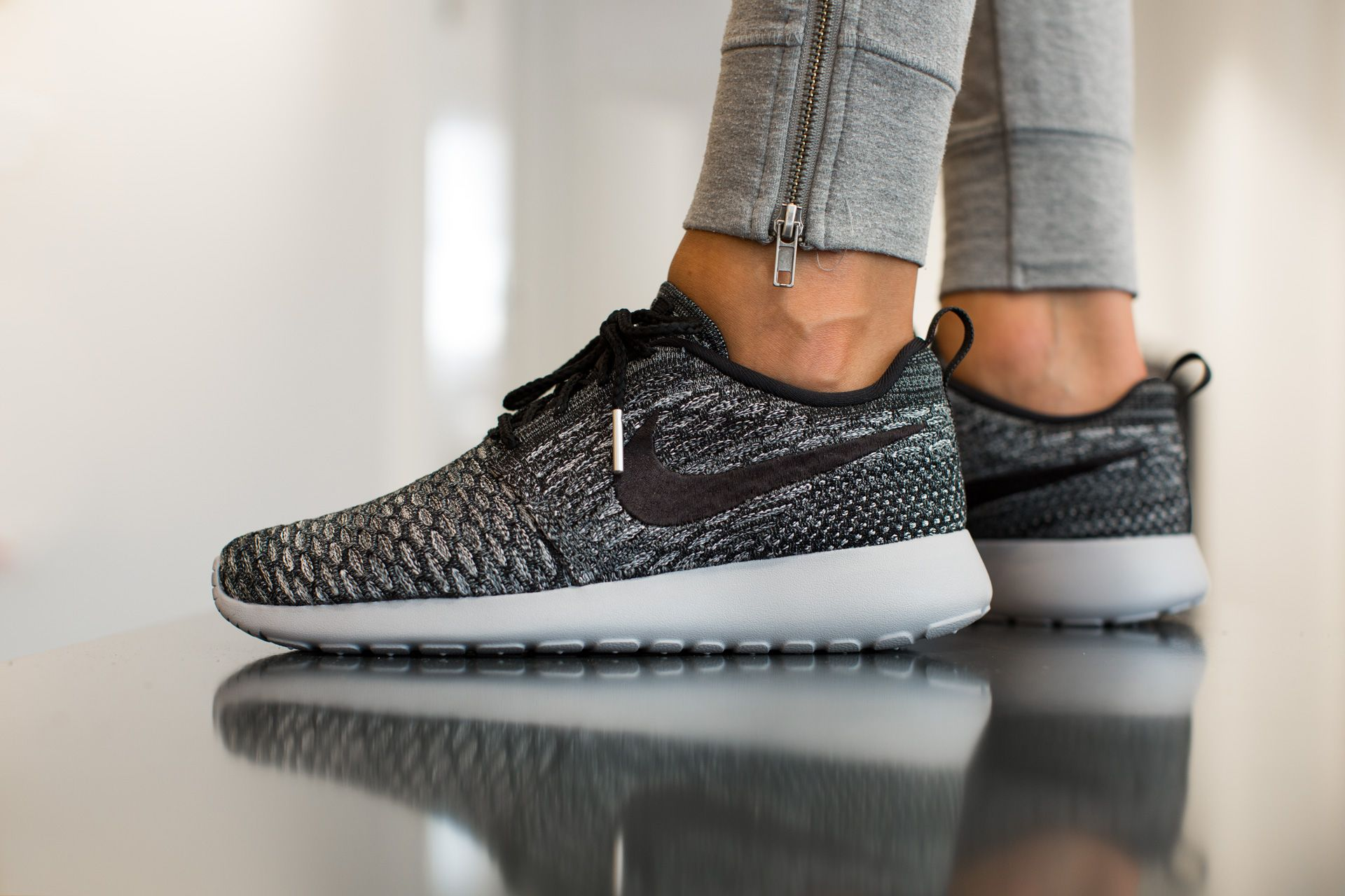 029a4e2207be NIKE WMNS ROSHE ONE FLYKNIT COOL GREY BLACK-WLF GREY-WHITE available at  www.tint-footwear.com nike-wmns-roshe-run-flyknit-007 nike roshe one  rosherun ...