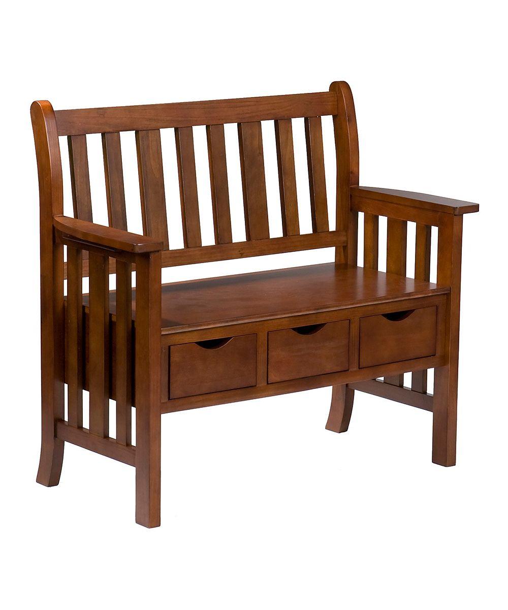 Southern Enterprises Oak Three Drawer Country Bench Zulily Oak Storage Bench Country Bench Oak Bench