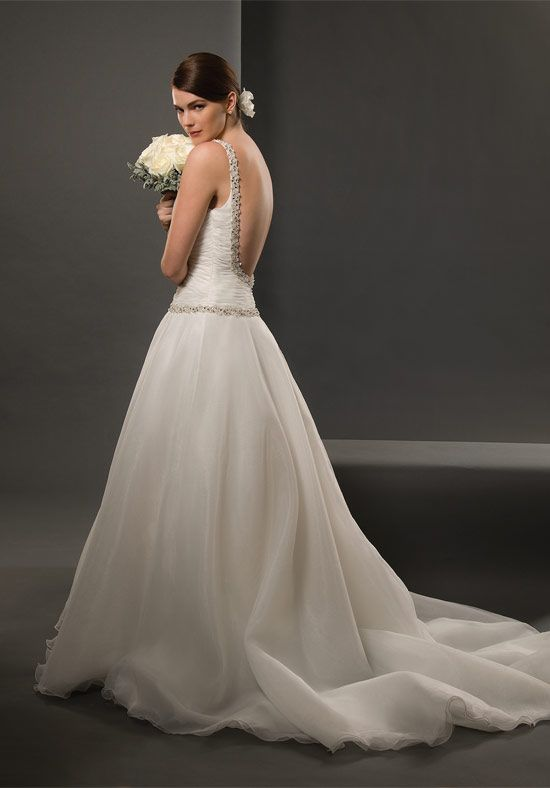 Ball Gown V-Neck Floor Length Attached Organza Wedding Dress Style ...