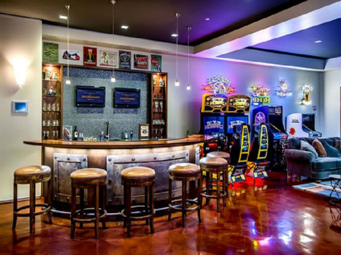 Create A Man Cave In Your Garage Man Room Bar Wet Bar Basement Man Cave Home Bar