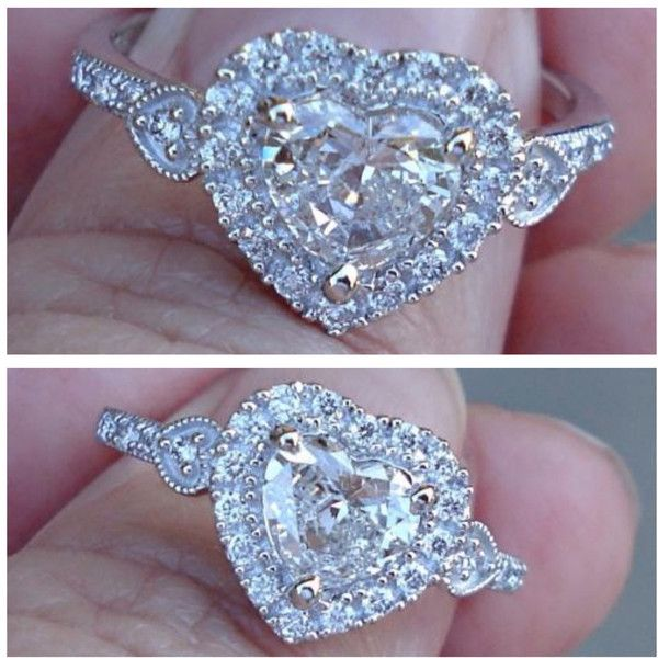18K 1 Carat Heart Diamond Ring Wedding Engagement Eye Clean F Color ...