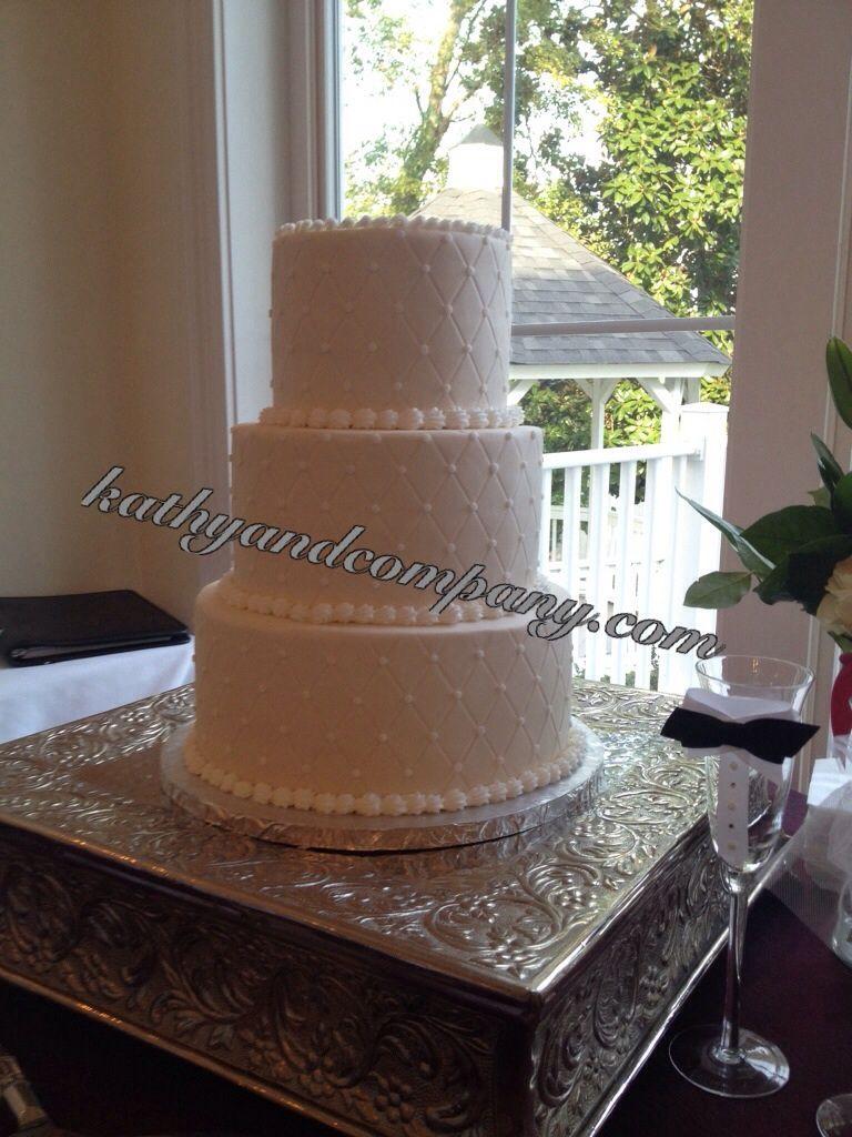 Buttercream wedding cake diamond dot pattern simple and pretty