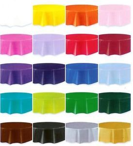 Round Table Covers Plastic Tablecloths Wedding Baby Shower Party Decorations