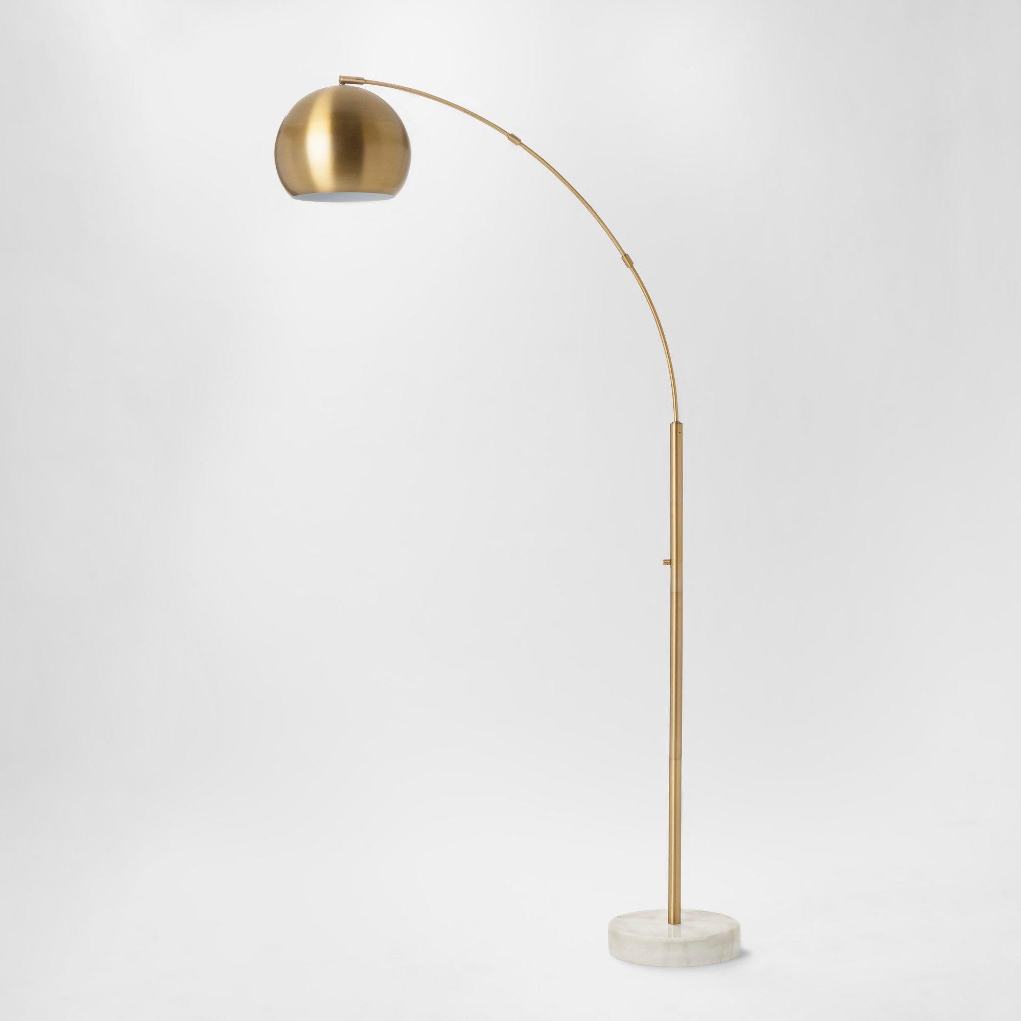 Span Single Head Metal Globe Floor Lamp Brass Includes Energy Efficient Light Bulb Project 62