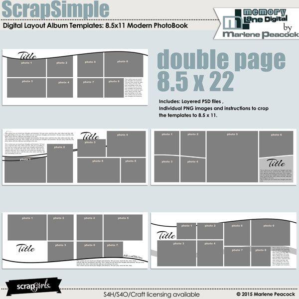 ScrapSimple Digital Layout Album Templates 85x11 Modern PhotoBook