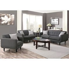 Mid Century Modern Design Grey Living Room Collection (1 Sofa, 1 Loveseat,  1 Chair) Part 96